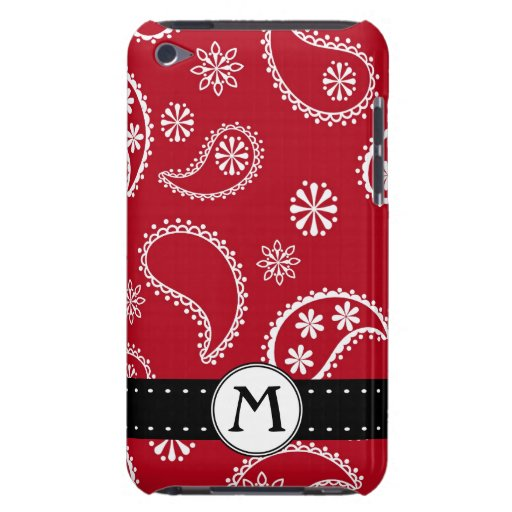 Personalized Red and White Paisley Pattern Country iPod Touch Covers
