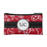 Personalized Red and White Paisley Pattern Country Makeup Bag
