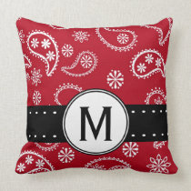 Personalized Red and White Paisley Pattern Country Pillows