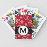 Personalized Red and White Paisley Pattern Country Bicycle Playing Cards