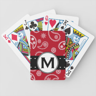 Personalized Red and White Paisley Pattern Country Bicycle Poker Deck