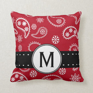 Personalized Red and White Paisley Pattern Country Throw Pillow