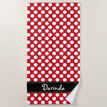 Beach Themed Personalized Red and White Polka Dot Beach Towel