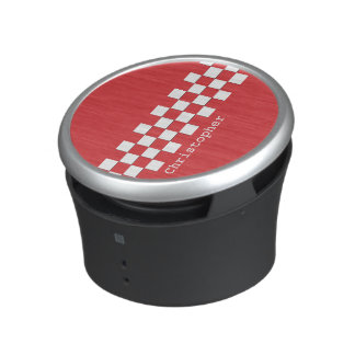 Personalized Red and White Racing Checks Bluetooth Speaker