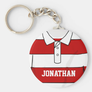 Personalized Red and White Rugby Jersey Basic Round Button Keychain