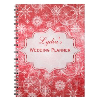 Personalized Red and White Snowflakes Notebook