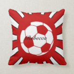 Personalized red and white soccer design pillows