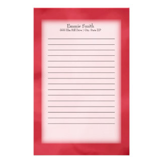 Personalized Red and White Stationery