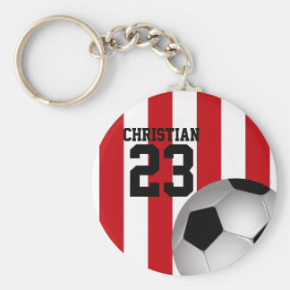 Personalized Red and White Stripes Soccer Ball Basic Round Button Keychain
