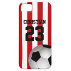 Personalized Red and White Stripes Soccer Ball Cover For iPhone 5/5S