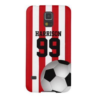 Personalized Red and White Stripes Soccer Ball Case For Galaxy S5