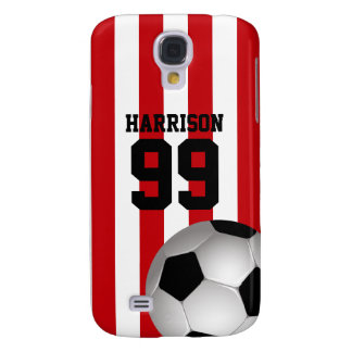 Personalized Red and White Stripes Soccer Ball Galaxy S4 Cover