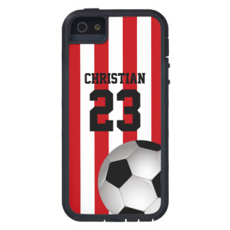 Personalized Red and White Stripes Soccer Ball iPhone SE/5/5s Case