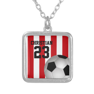 Personalized Red and White Stripes Soccer Ball Silver Plated Necklace