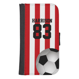 Personalized Red and White Stripes Soccer Ball Wallet Phone Case For Samsung Galaxy S4