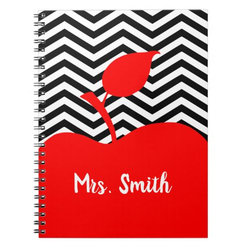 Personalized Red Apple Black and White Chevron Notebook