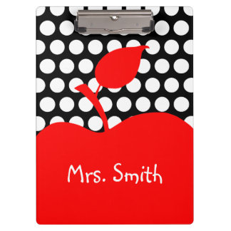 Personalized Red Apple Black and White Polka Dot Clipboards