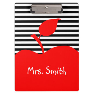 Personalized Red Apple Black and White Stripes Clipboard