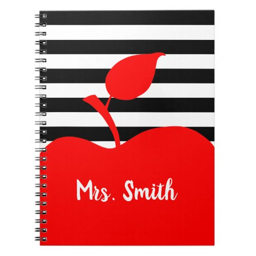 Personalized Red Apple Black and White Stripes Notebook