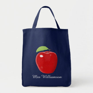 Personalized Red Apple Painting Teachers Tote Bag