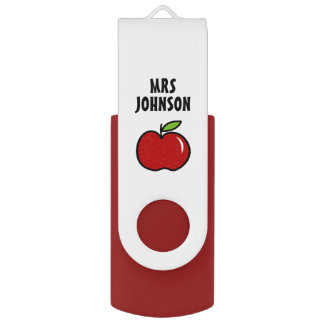 Personalized red apple school teacher assistant USB flash drive