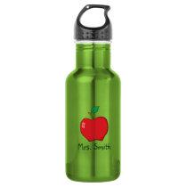 Personalized Red Apple Teacher Water Bottle