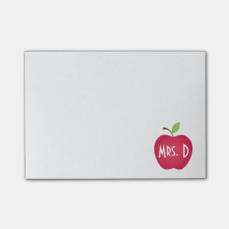 Personalized Red Apple Teacher's Post-it Notes