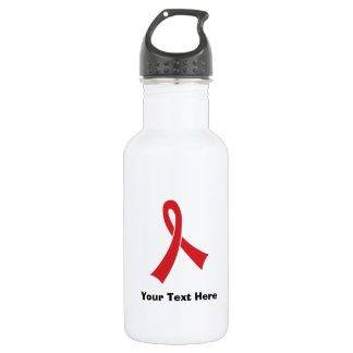 Personalized Red Awareness Ribbon Stainless Steel Water Bottle