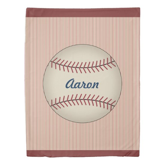 Personalized Red Baseball Duvet Cover