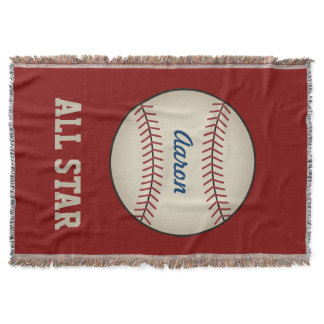 Personalized Red Baseball Sports Blanket Gift