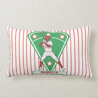 Personalized red baseball star throw pillows
