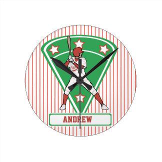 Personalized red baseball star round wallclock