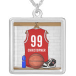 Personalized Red Basketball Jersey Custom Jewelry