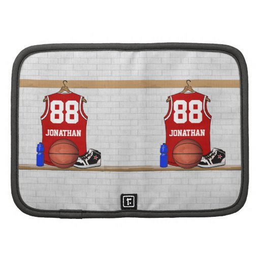 Personalized Red Basketball Jersey Folio Planners