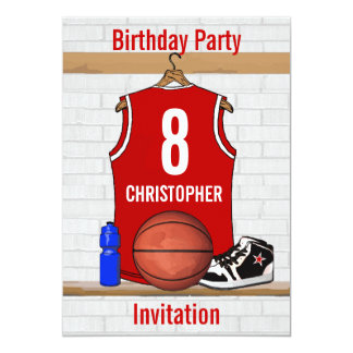 Personalized Red Basketball Jersey Custom Invites