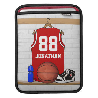 Personalized Red Basketball Jersey iPad Sleeves