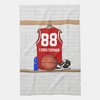 Personalized Red basketball jersey Kitchen Towel