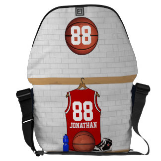 Personalized Red Basketball Jersey Commuter Bag