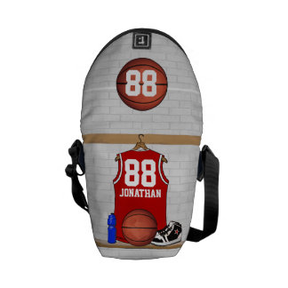 Personalized Red Basketball Jersey Messenger Bag