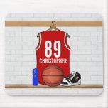 Personalized Red Basketball Jersey Mousepads