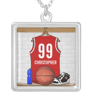 Personalized Red Basketball Jersey Square Pendant Necklace