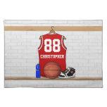 Personalized Red basketball jersey Place Mats