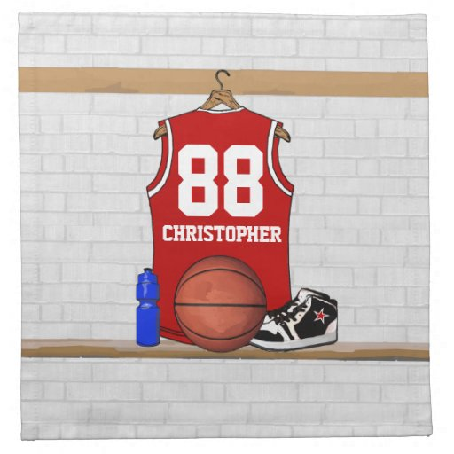 Personalized Red basketball jersey Printed Napkins