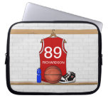 Personalized Red Basketball Jersey (RED) Laptop Computer Sleeve