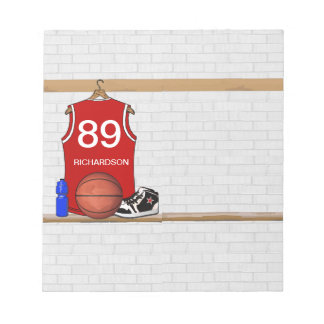 Personalized Red Basketball Jersey (RED) Notepad