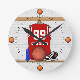 Personalized Red Basketball Jersey Round Clock