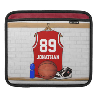 Personalized Red Basketball Jersey Sleeve For iPads