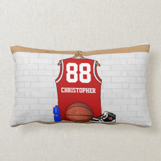 Personalized Red basketball jersey Throw Pillow