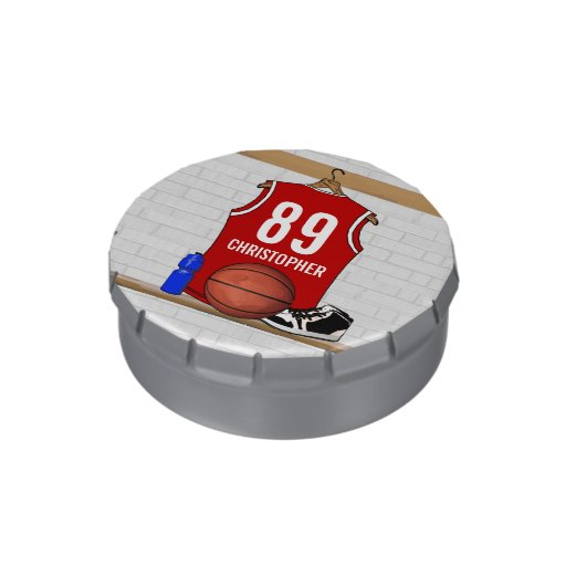 Personalized Red Basketball player team Jersey Jelly Belly Candy Tins