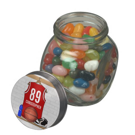 Personalized Red Basketball player team Jersey Jelly Belly Candy Jars